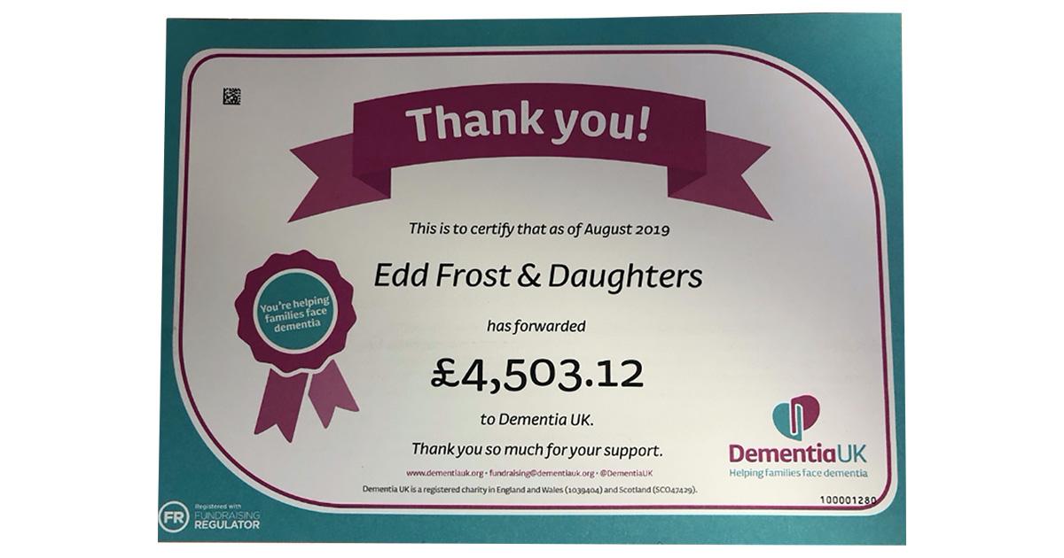 Dementia Uk Funds raised